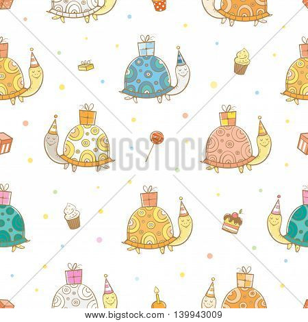 Birthday seamless pattern with cute cartoon turtles in party hat  on  white background. Gifts, sweets and confetti. Little funny animals. Children's illustration. Vector image.