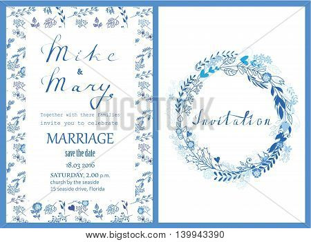 Doodle line design of wedding invitation, cards with floral elements and lettering