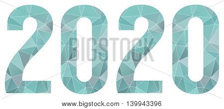 blue abstract polygonal 2020 year symbol isolated vector logo on white background