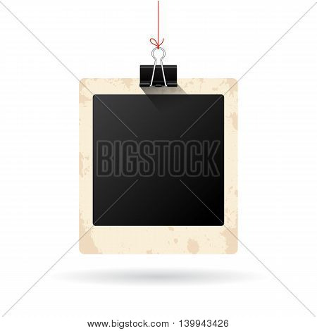 Blank hanging instant photo card isolated on white background