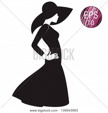vector woman's silhouette in black hat and black dress