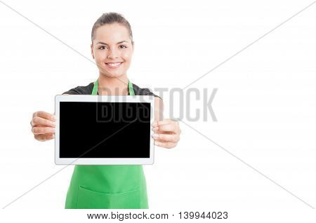 Smiling Beautiful Employee Showing Tablet With Empty Screen