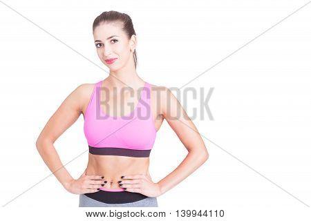 Beautiful Fit Trainer Posing In Sporty Wear