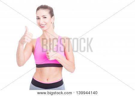Female Fitness Trainer Showing Okay Gesture