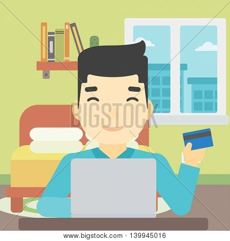 An asian man holding a credit card and using laptop for online shopping. Young man shopping online at home. Man making online payment. Vector flat design illustration. Square layout.