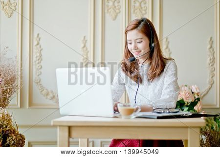 Portrait Of Woman Customer Service Worker, Call Center Smiling Operator