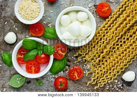 Ingredients of traditional Italian cuisine assortment top view