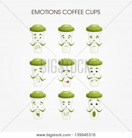Emotional coffee mugs. Different variations of the persons on mugs