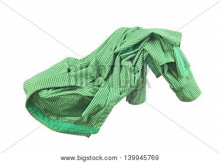 Blank green shirt are falling through the air on an isolated white background.
