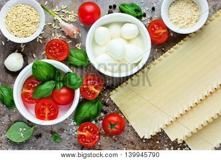 Traditional Italian food composition - fresh basil cherry tomatoes mozzarella cheese lasagna parmesan garlic salt pepper top view