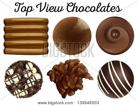 Top view chocolates in different shapes illustration