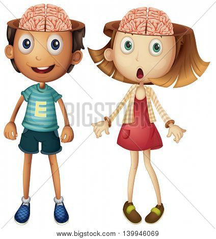 Boy and girl with naked brains illustration