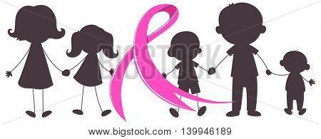 Pink ribbon and many children illustration