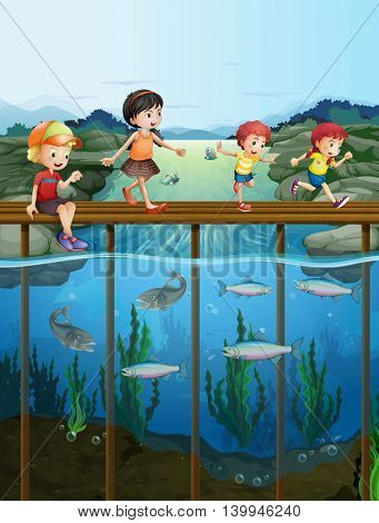 Children walking on the bridge illustration