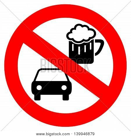 No drink and drive vector symbol isolated on white background