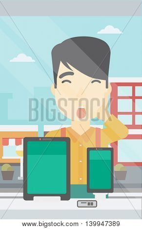 Astonished man looking at digital tablet and smartphone through the shop window. An asian young man with open mouth looking at tablet and phone. Vector flat design illustration. Vertical layout.