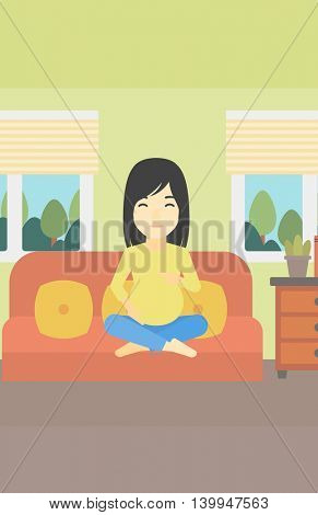 An asian pregnant woman holding her hands on belly. Young pregnant woman sitting on a sofa at home. Vector flat design illustration. Vertical layout.