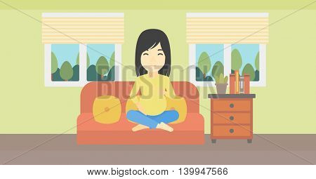 An asian pregnant woman holding her hands on belly. Young pregnant woman sitting on a sofa at home. Vector flat design illustration. Horizontal layout.