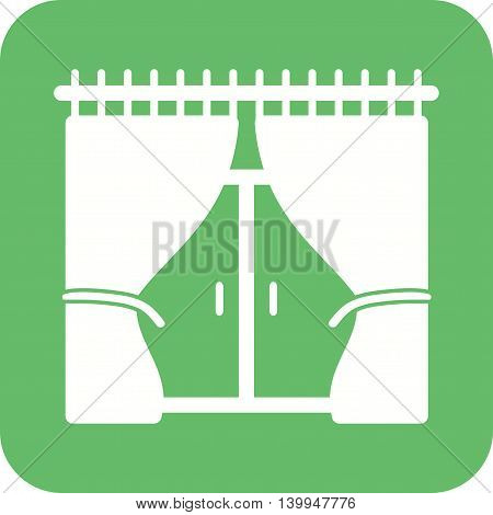 Window, curtains, house icon vector image. Can also be used for home. Suitable for use on web apps, mobile apps and print media.