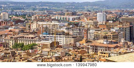 Panoramic view on the city of Girona Catalonia Spain
