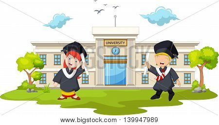 graduation celebration cartoon with background building campus