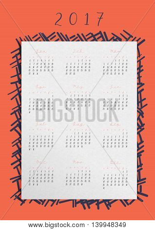 Vector Calendar Of 2017 Year In A4 Ratio,all 12 Month On White Paper With Doodle Abstract Frame On R