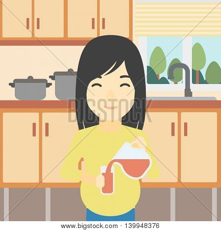 An asian pregnant woman pouring juice in glass. Pregnant woman drinking juice. Concept of healthy nutrition during pregnancy. Vector flat design illustration. Square layout.