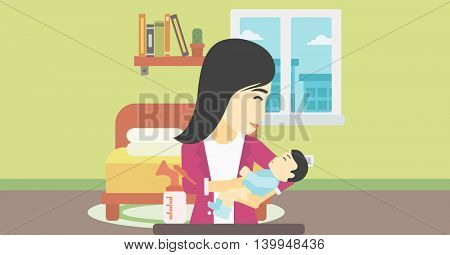 An asian mother holding a newborn baby in hands and a breast pump standing on the table in front of her. Young mother feeding her baby. Vector flat design illustration. Horizontal layout.
