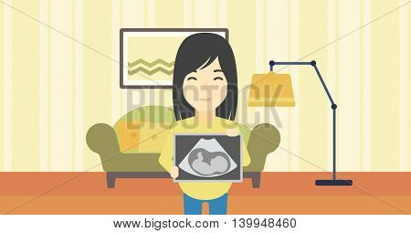 An asian pregnant woman standing with ultrasound image on the background of living room. Pregnant woman showing ultrasound photo. Vector flat design illustration. Horizontal layout.