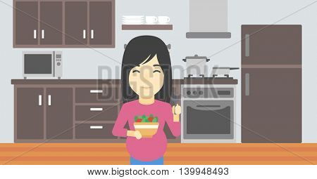 An asian young pregnant woman holding bowl with vegetables in kitchen. Concept of healthy nutrition during pregnancy. Vector flat design illustration. Horizontal layout.