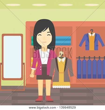 An asian young woman holding hanger with dress and jacket. Woman choosing dress at clothing store. Shop assistant offering suit jacket and dress. Vector flat design illustration. Square layout.