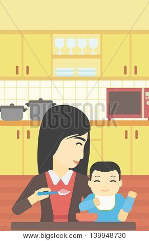 An asian mother feeding baby at home. Young mother teaching baby to eat with spoon. Mother spoon-feeding her baby at kitchen. Vector flat design illustration. Vertical layout.