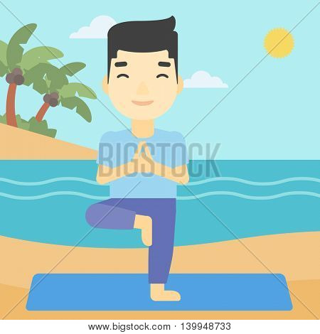 An asian young man standing in yoga tree pose. Man meditating in yoga tree position on beach. Man doing yoga on nature. Vector flat design illustration. Square layout.