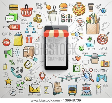 Online Order Smart Phone infographics - hand drawn style. Vector illustration.