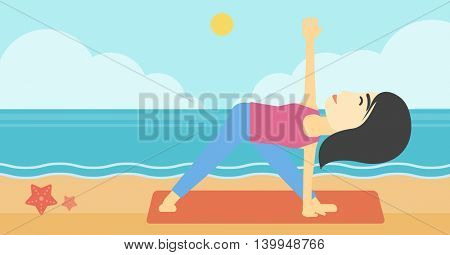 An asian young woman standing in yoga triangle position. Woman meditating in yoga triangle position on the beach. Woman doing yoga on nature. Vector flat design illustration. Horizontal layout