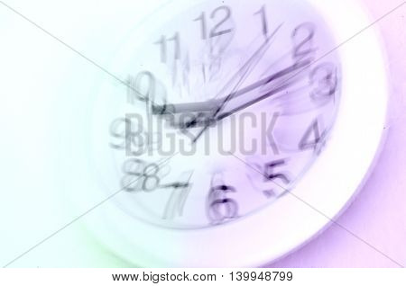 Not enough time concept. Blurred clock against white background.