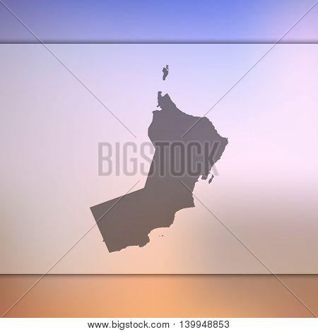 Oman map on blurred background. Blurred background with silhouette of Oman. Oman. Oman map. Blurred background. Silhouette of Oman. Oman vector map.