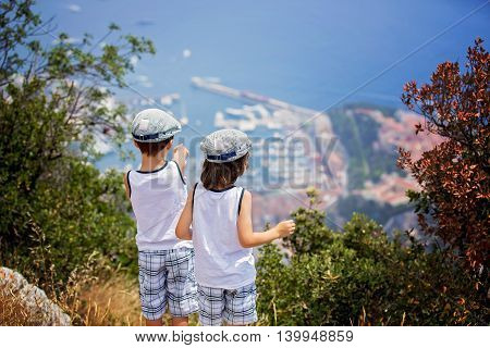 Two Sweet Boys, Children Watching The View Of Monaco From Top Of Hills