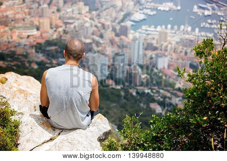 Young Man On A Hill Above Monaco, Contemplating The View