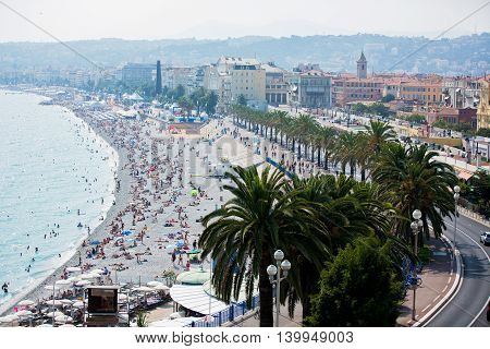 Nice, France - 5 July 2016: City Of Nice During The Summer, Landscape View