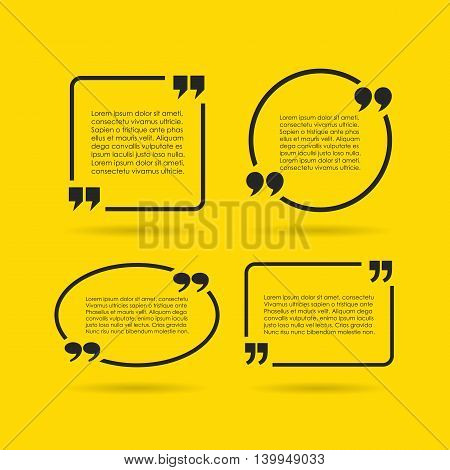 Quote text bubble set on yellow background