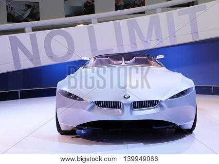 Munich Germany - April 12 2012: Display of concept car BMW GINA Light Visionary with motto