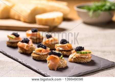 Smoked Salmon Appetizer with Cream Cheese and Caviar