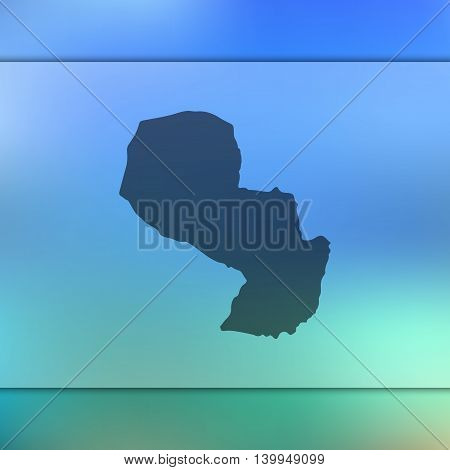 Paraguay map on blurred background. Blurred background with silhouette of Paraguay. Paraguay. Paraguay map. Blurred background. Paraguay vector map.