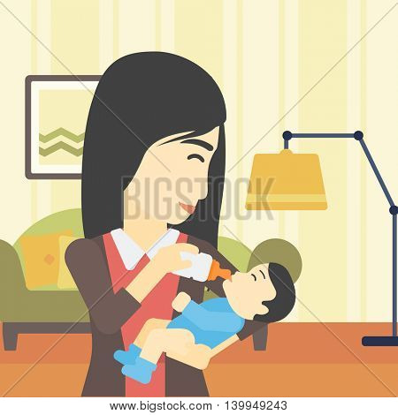 An asian young mother feeding baby boy with a milk bottle. Mother feeding newborn baby at home. Baby boy drinking milk from bottle. Vector flat design illustration. Square layout.