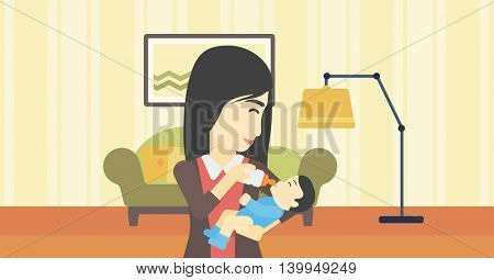 An asian young mother feeding baby boy with a milk bottle. Mother feeding newborn baby at home. Baby boy drinking milk from bottle. Vector flat design illustration. Horizontal layout.