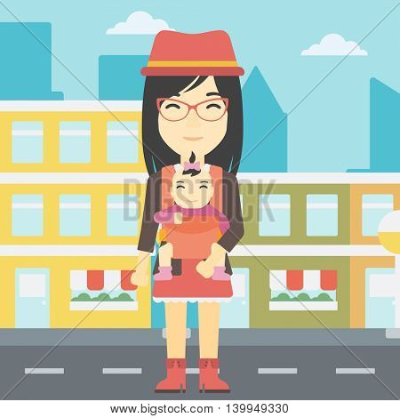 An asian mother carrying daughter in sling. Mother with baby in sling walking in the city street. Young mother carrying a newborn in sling. Vector flat design illustration. Square layout.