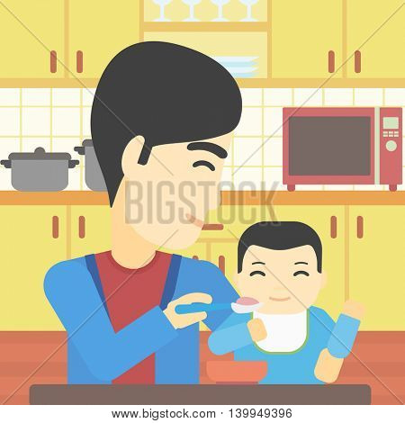 An asian father feeding baby at home. Young father teaching baby to eat with spoon. Father spoon-feeding her baby at kitchen. Vector flat design illustration. Square layout.