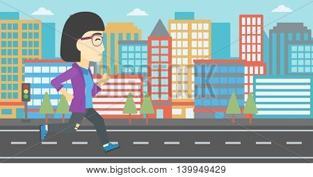 An asian young woman running. Female runner jogging. Full length of a female athlete running. Sports woman running on a city background. Vector flat design illustration. Horizontal layout