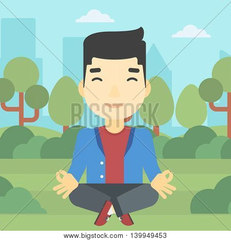 An asian young businessman meditating in yoga lotus position. Businessman relaxing in the park in the lotus position. Vector flat design illustration. Square layout.